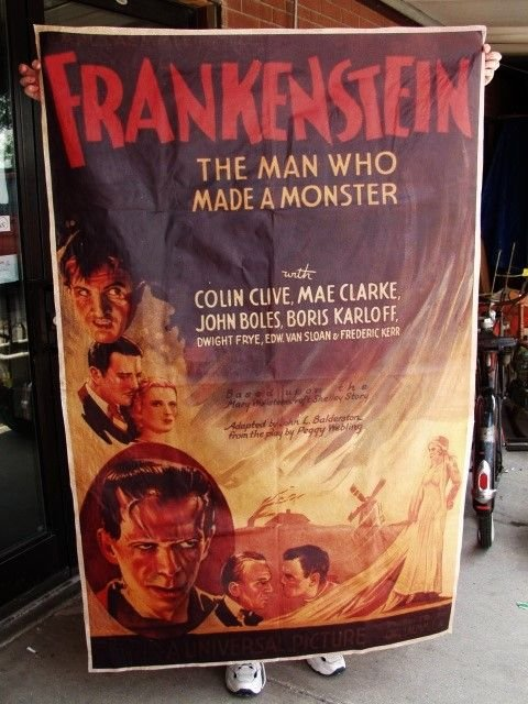 520G: Frankenstein Movie Poster on Canvas over 5 ft tal