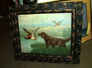 8: Vintage Framed Print of Hunting Dog and Ducks