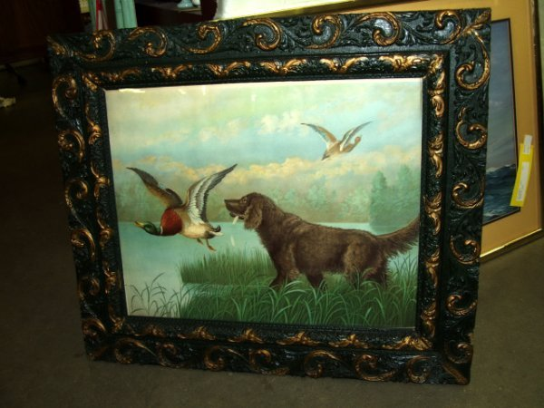 8: Vintage Framed Print of Hunting Dog and Ducks
