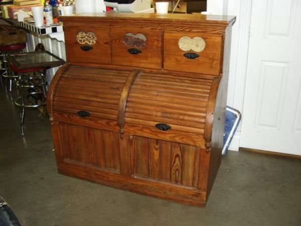 66: Antique Seed Cabinet Roll Top Bin Circa 1890's