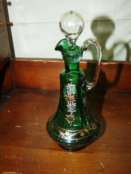 308: Victorian Hand Painted Decanter