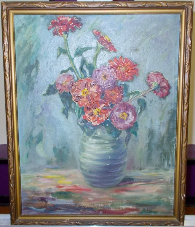 B Lacey Floral Oil Painting