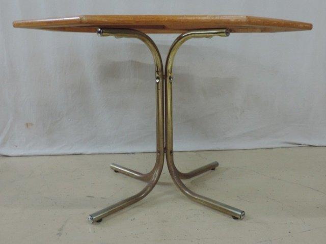 Wood & Glass Table w/ Metal Base
