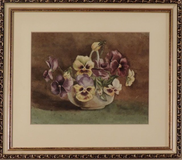 Pansy water color in white frame
