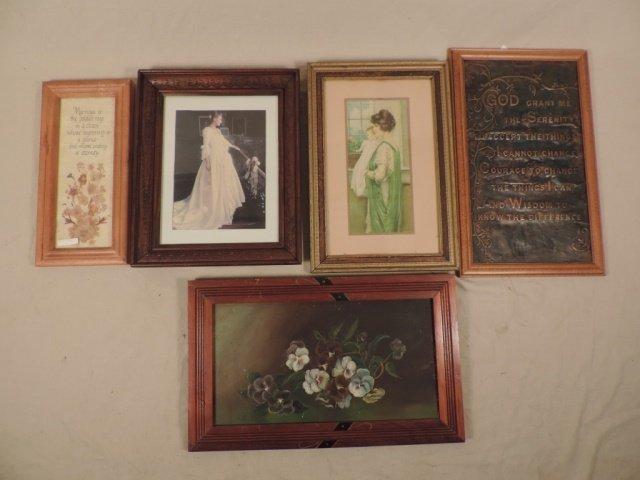 Box lot of 5 framed art
