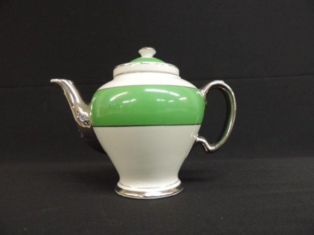 Mcormick & Co. Green and Silver Teapot