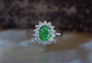 1ctw emerald diamond ring-emerald ring-diamond halo