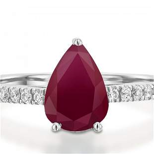 1CTW-Engagement Ring-Pear Ruby-Brilliant Diamond