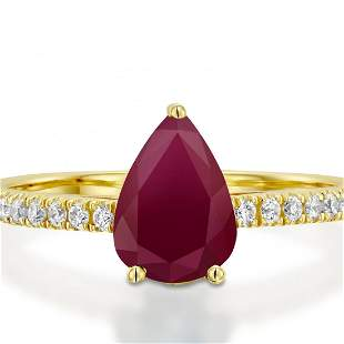 1CTW-Engagement Ring-Pear Ruby-Yellow Gold