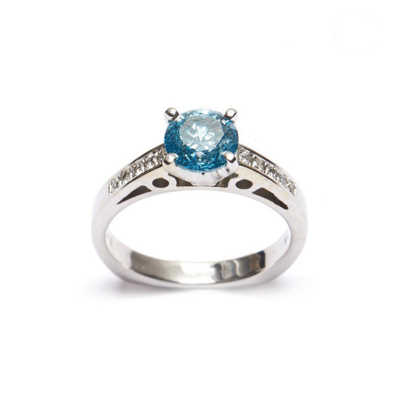 Diamond Solitaire Ring 1.20 ct, Fancy Blue
