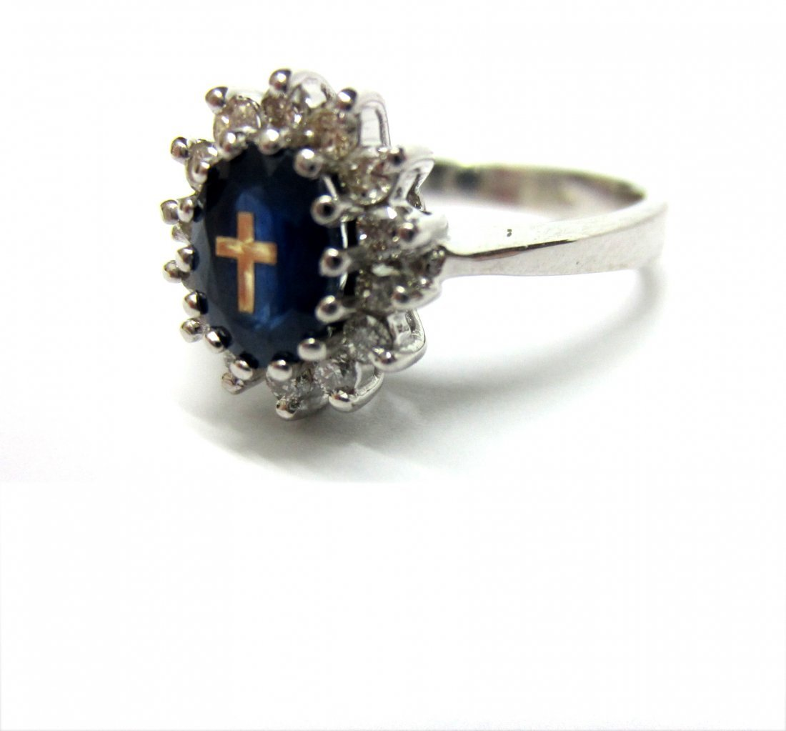 Diamond Ring 14K White Gold, Diana Style Engagement