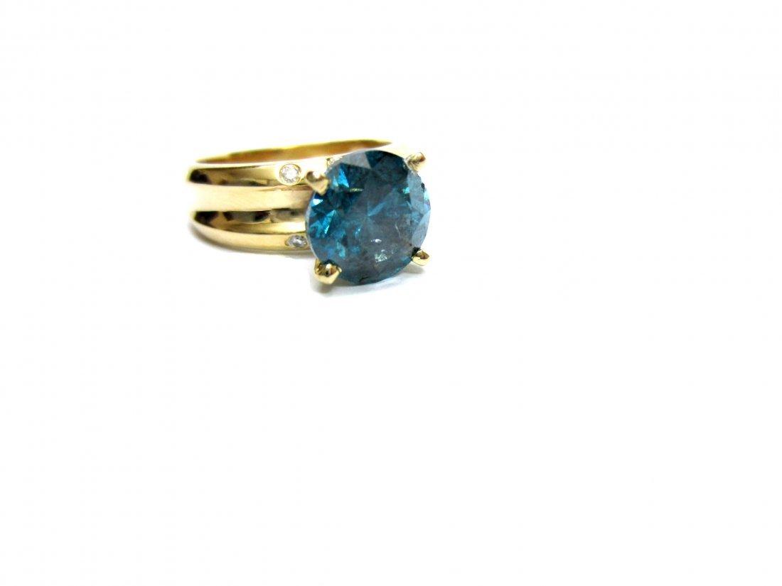 Diamond Ring 2.51 ct Total, Fancy Blue