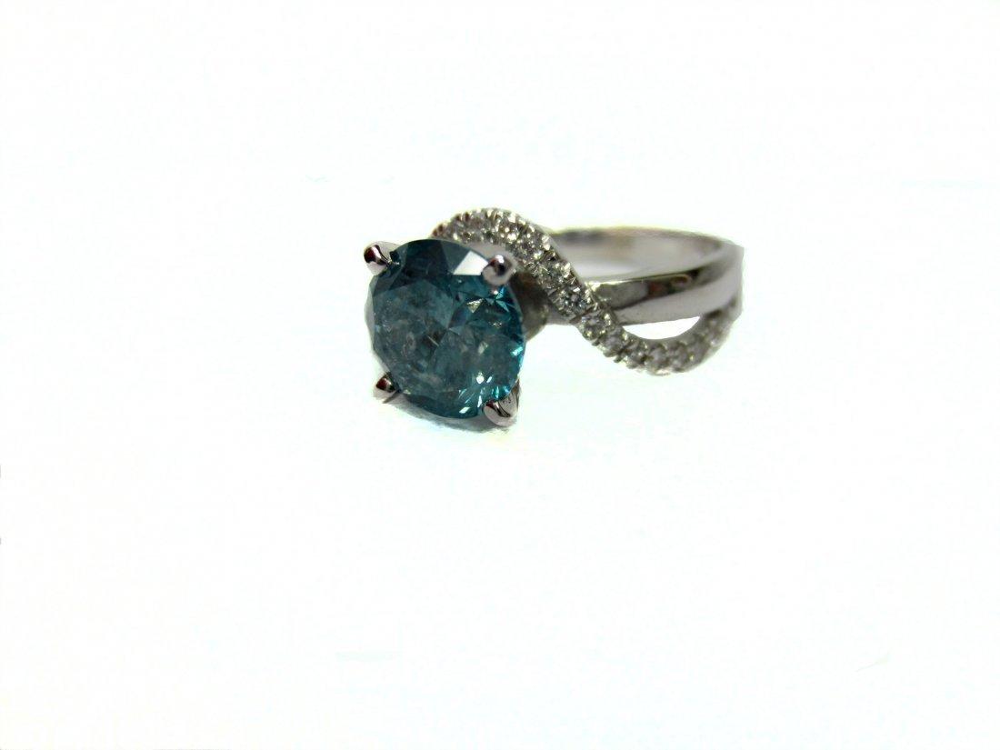 Diamond Ring 2.20 ct Total, Fancy Blue