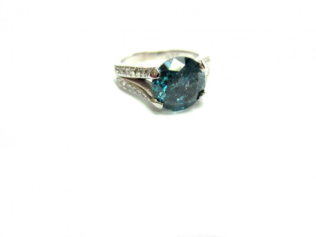 Diamond Ring 3.30 ct Total, Fancy Blue