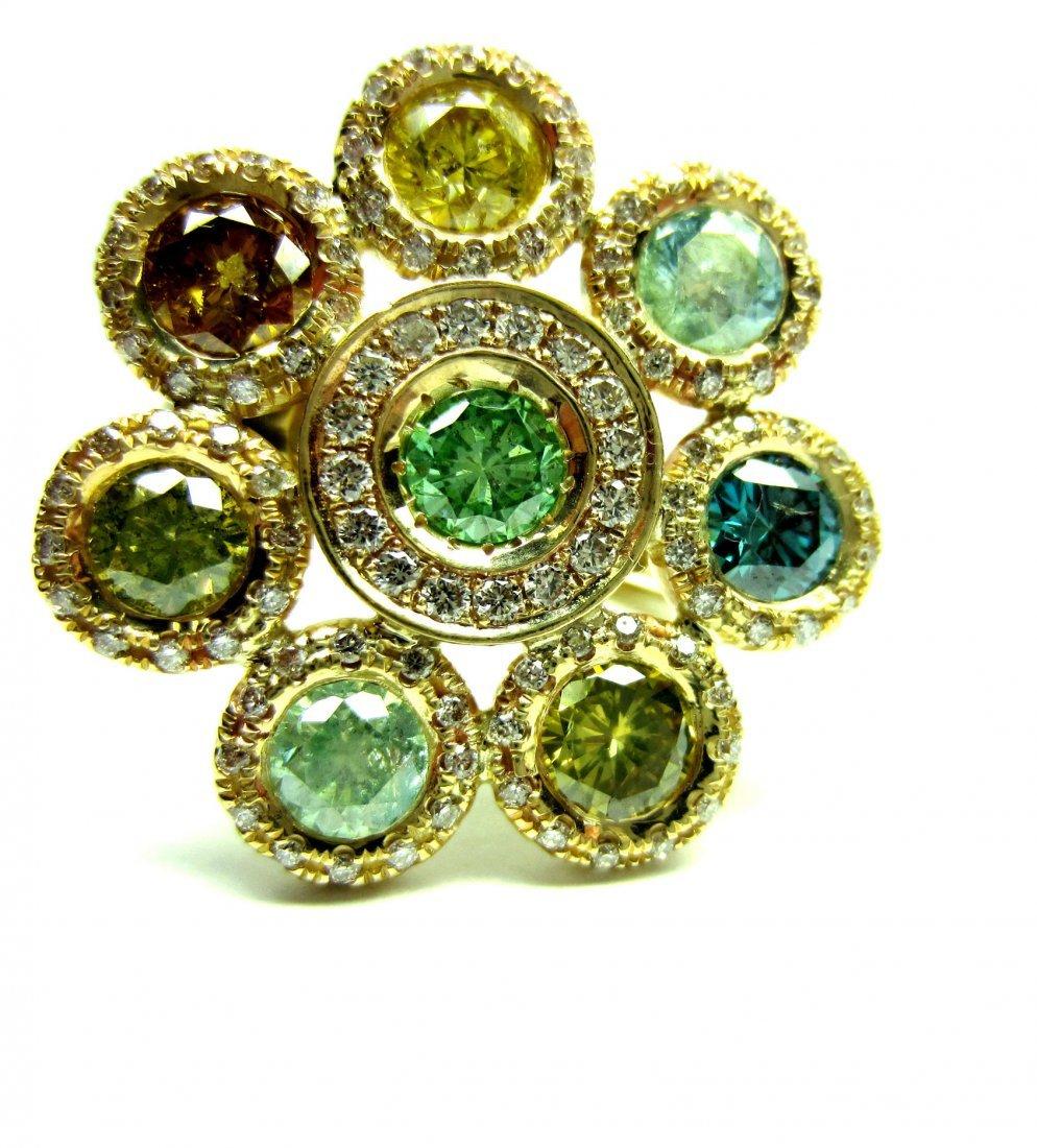 Rainbow diamond ring 3.5 ct