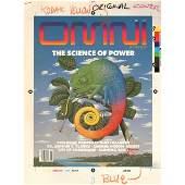 OMNI PRODUCTION ART 1985-07 COVER DRAFT & MAGAZINE LOT