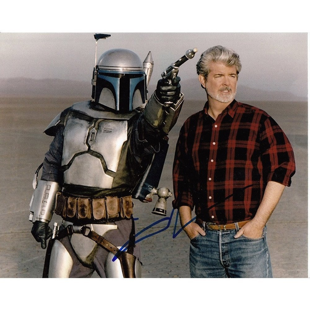 Orig George Lucas Signed Star Wars Photo w Jango Fett