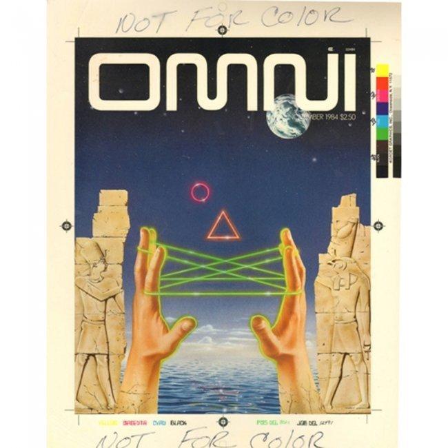 OMNI PRODUCTION ART 1984-11 COVER DRAFT & MAGAZINE LOT