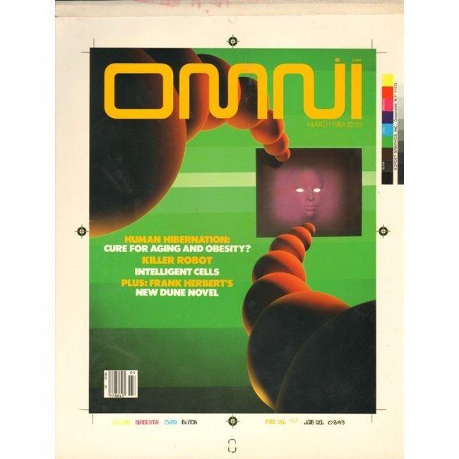 OMNI PRODUCTION ART 1984-3 COVER DRAFT & MAGAZINE LOT