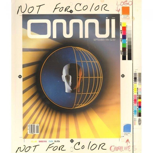OMNI PRODUCTION ART 1984-9 COVER DRAFT & MAGAZINE LOT