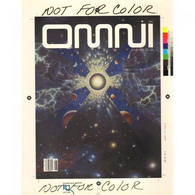 OMNI PRODUCTION ART 1986-06 COVER DRAFT & MAGAZINE LOT