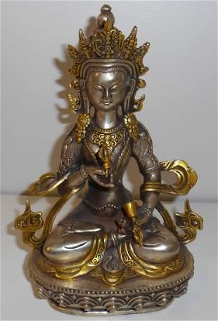 Coppernickle & Gilt Gold Guanyin Statue