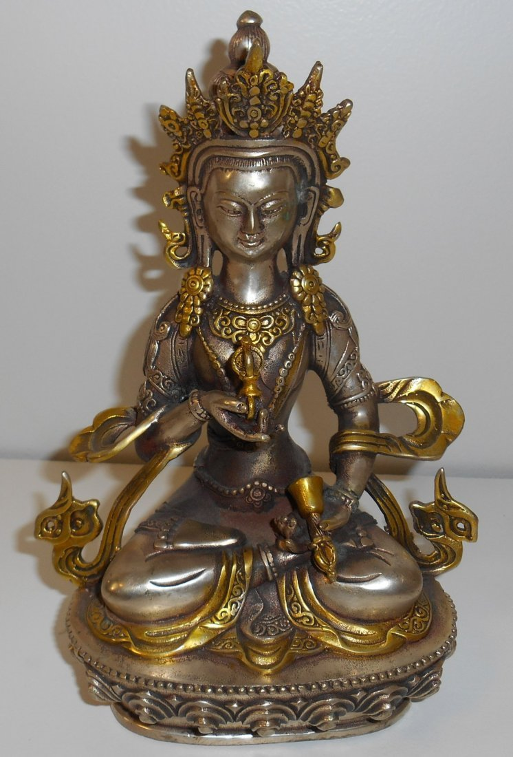 Coppernickle & Gilt Gold Guanyin Statue