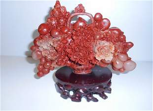 Rare Shoushan Stone Hand Carved Flowers and Fruit