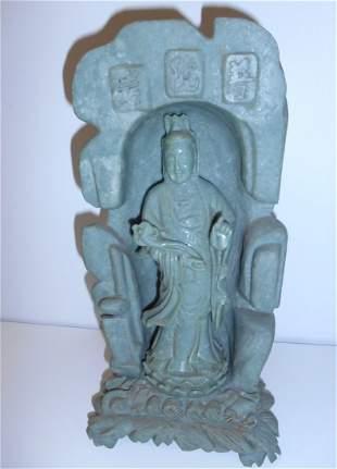 Vintage Large Serpentine Jade Kwan Yin Statue