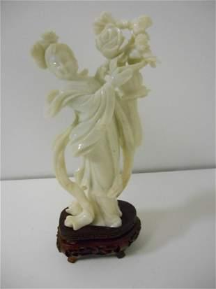 Vintage White Jade Kwan Yin with Lotus Flower Basket