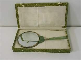 Vintage Jade Mirror in Original Box