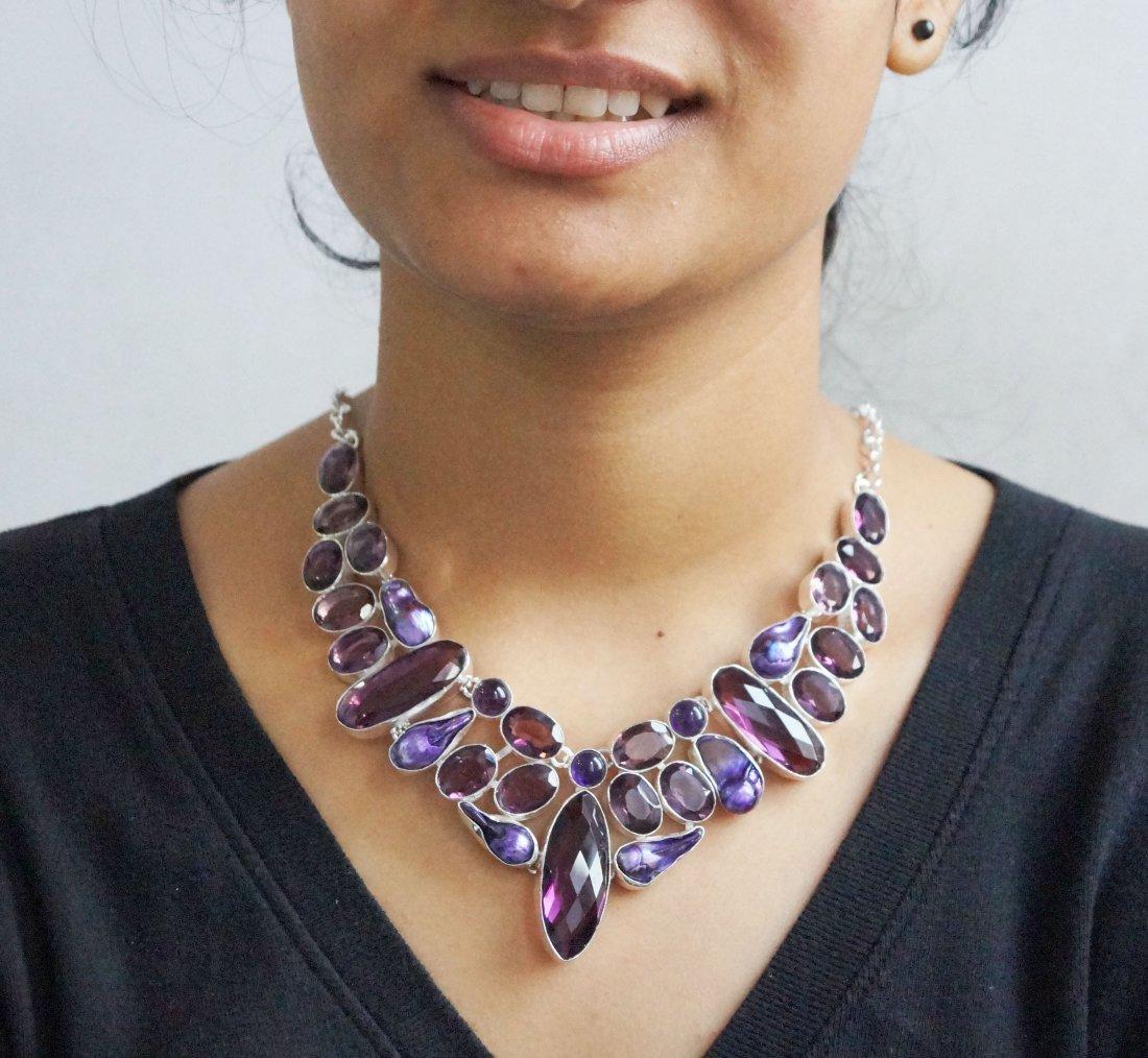 Beautiful Silver  Necklace with Blue Quartz  & Viva
