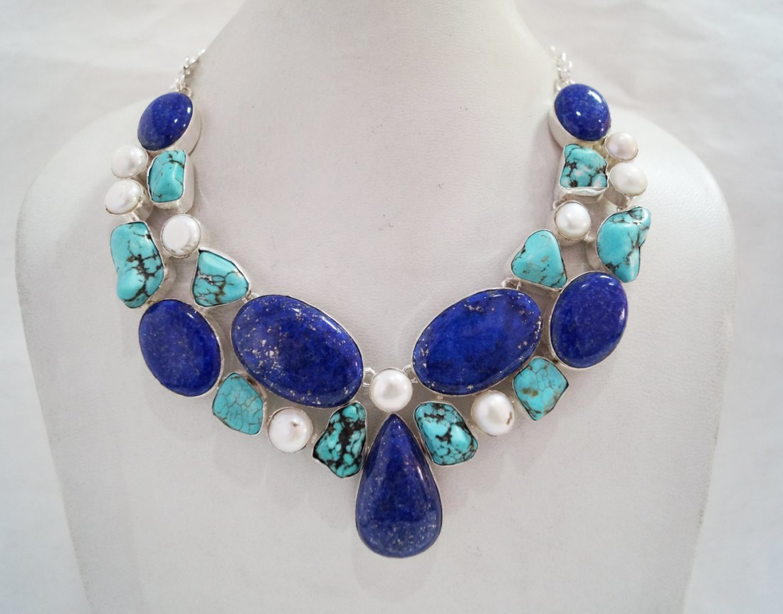 Beautiful Necklace with Genuine Lapis & Turquoise