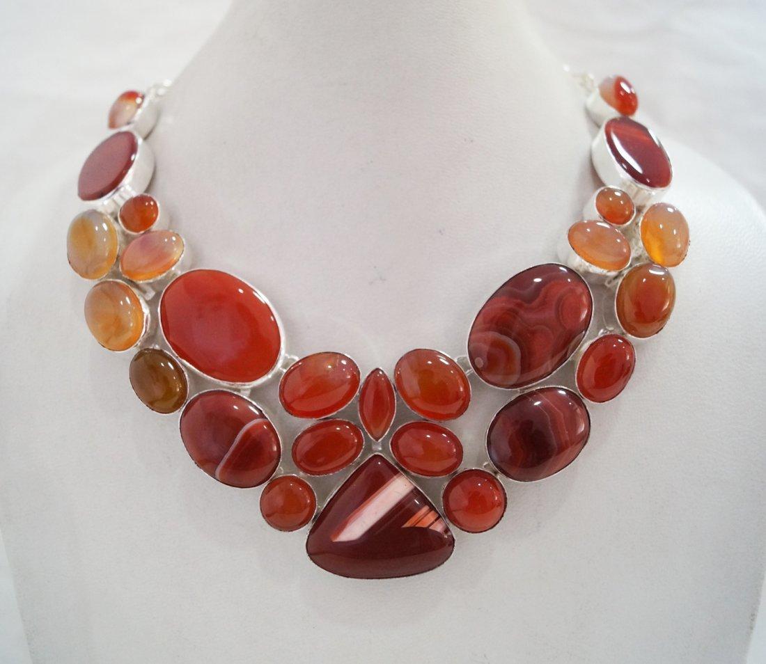 Beautiful Silver  Necklace with Genuine Carnelian