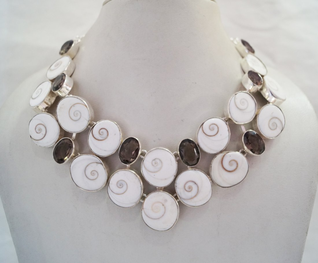 Silver Necklace with Genuine Shiva & Smoky Quartz