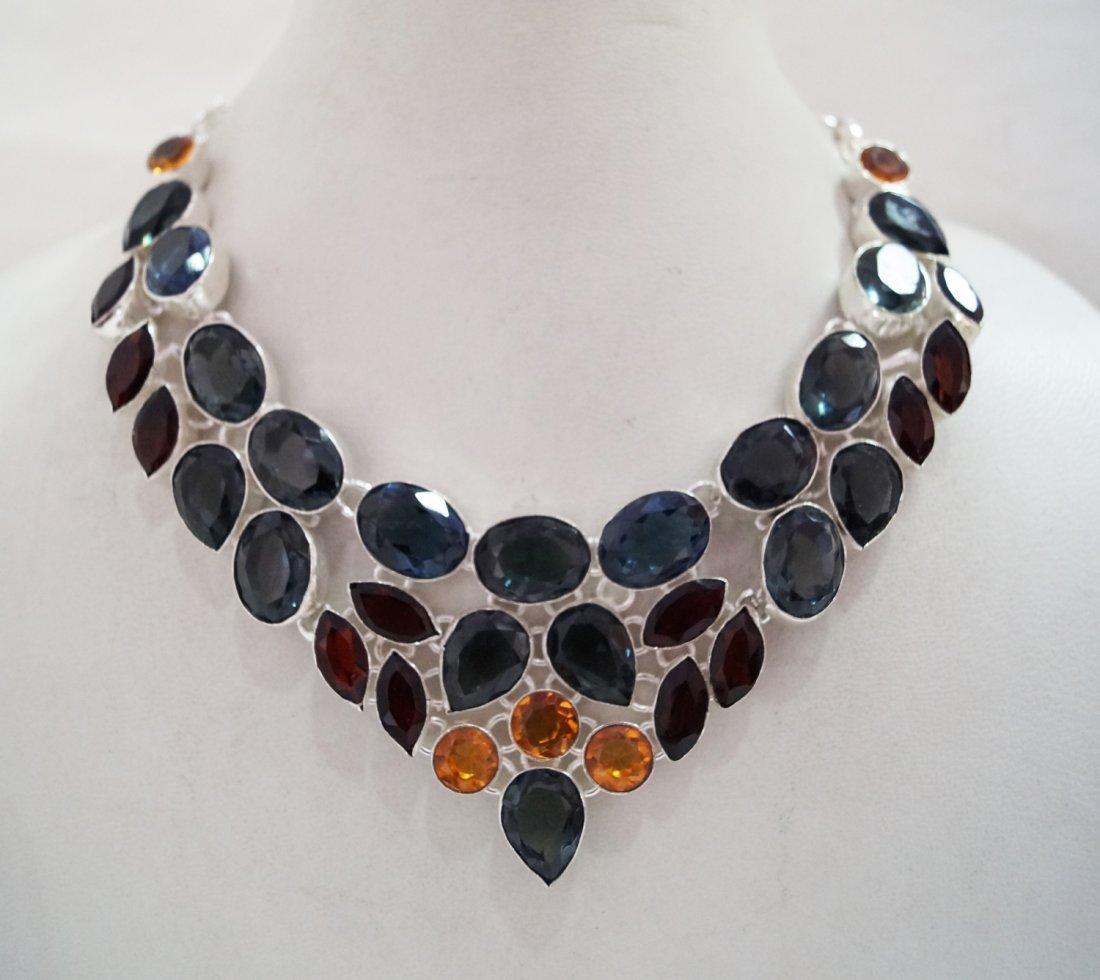 Beautiful Necklace with Genuine  Multi Color Quartz
