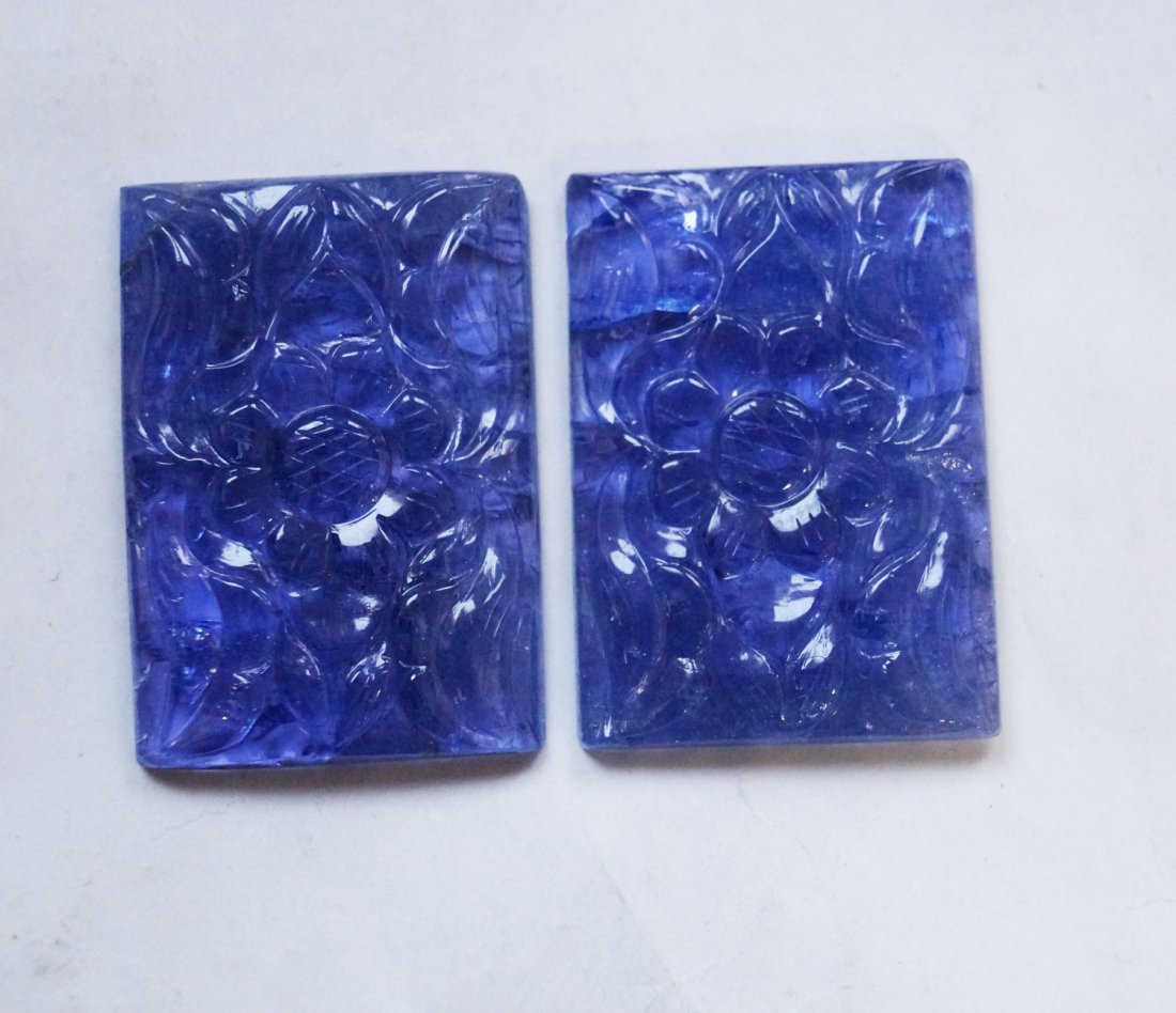 94 ctsTanzanite Carved Pair for Making Jewelry