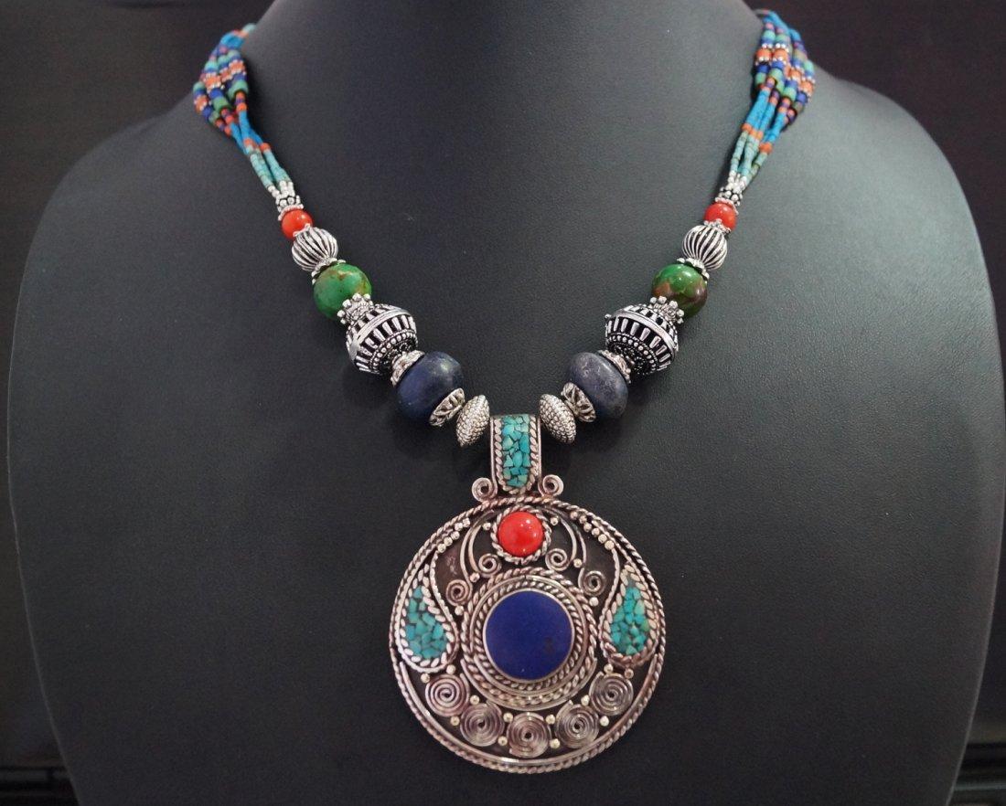Tibetan Lapis,Turquoise & coral vintage Style Necklace