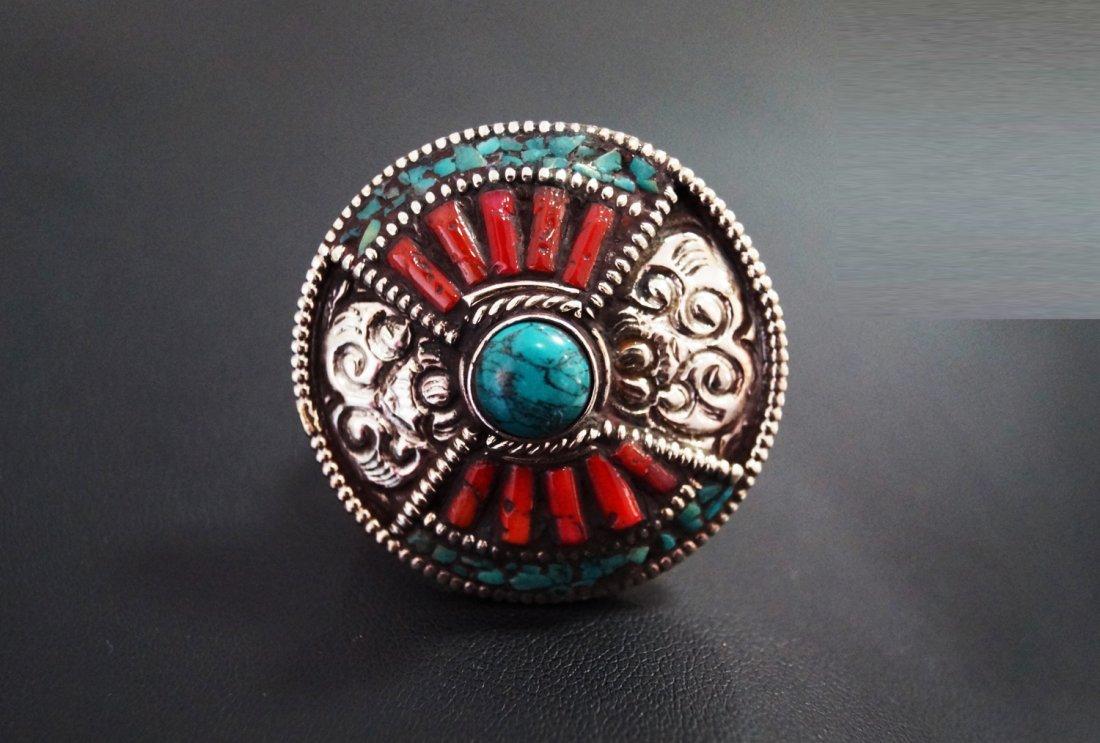 Turquoise & Coral Vintage Stye Tibetan Ring