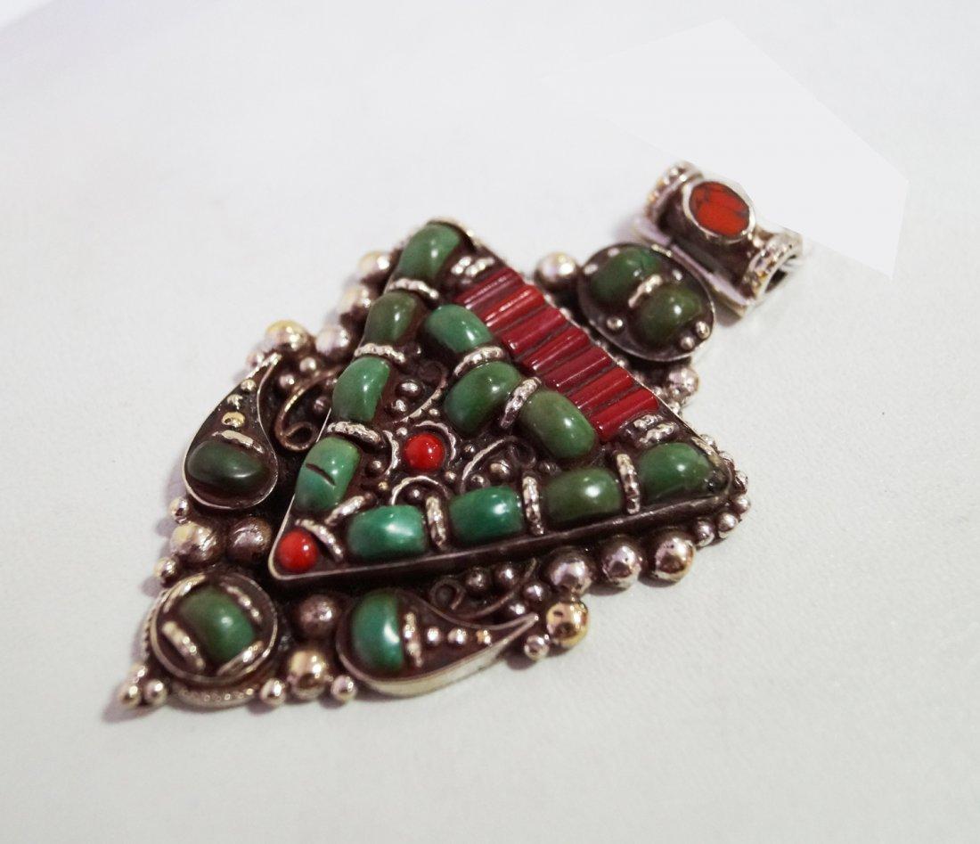 Turquoise, Lapis& Tibetan Bead vintageStyle Big Pendant