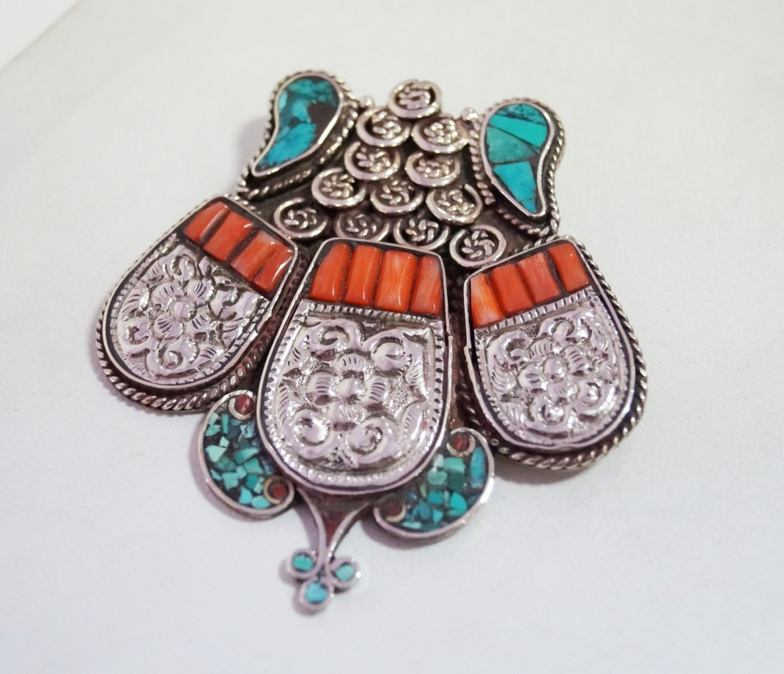 Turquoise & Coral vintage Style  Big Tibetan Penddant