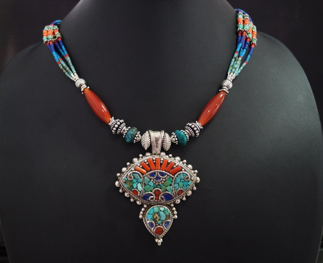Turquoise,Coral & Lapis Tibetan Beads vintage Necklace