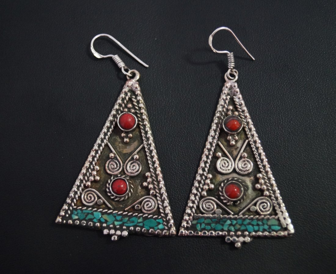 Turquoise & Coral vintage Style Tibetan Earring