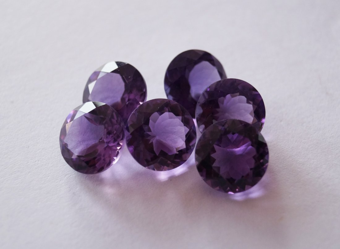 6 pcs Lot of Amethyst Round,12 mm,33.35 Cts,Rich Color