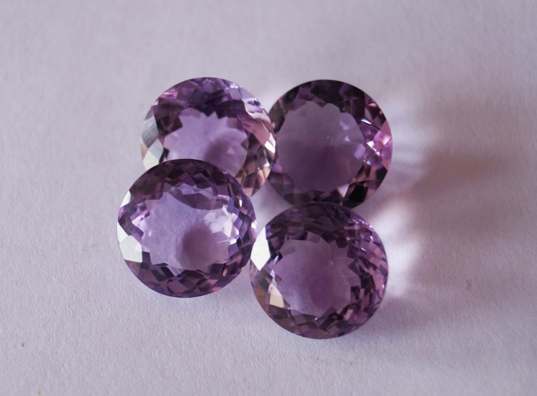 4 pcs Lot of Amethyst Round,14mm,35.15 Carats