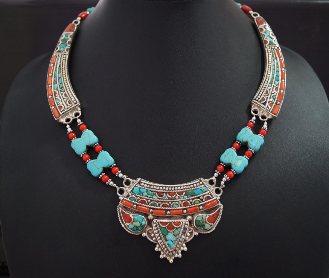Turquoise, Coral & Tibetan Beads vintage Style Necklace