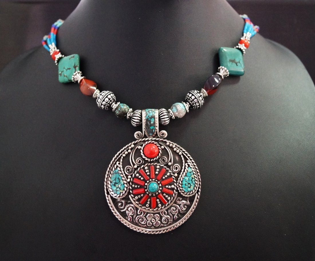 Turquoise, Lapis,Coral & Tibetan Beads Necklace