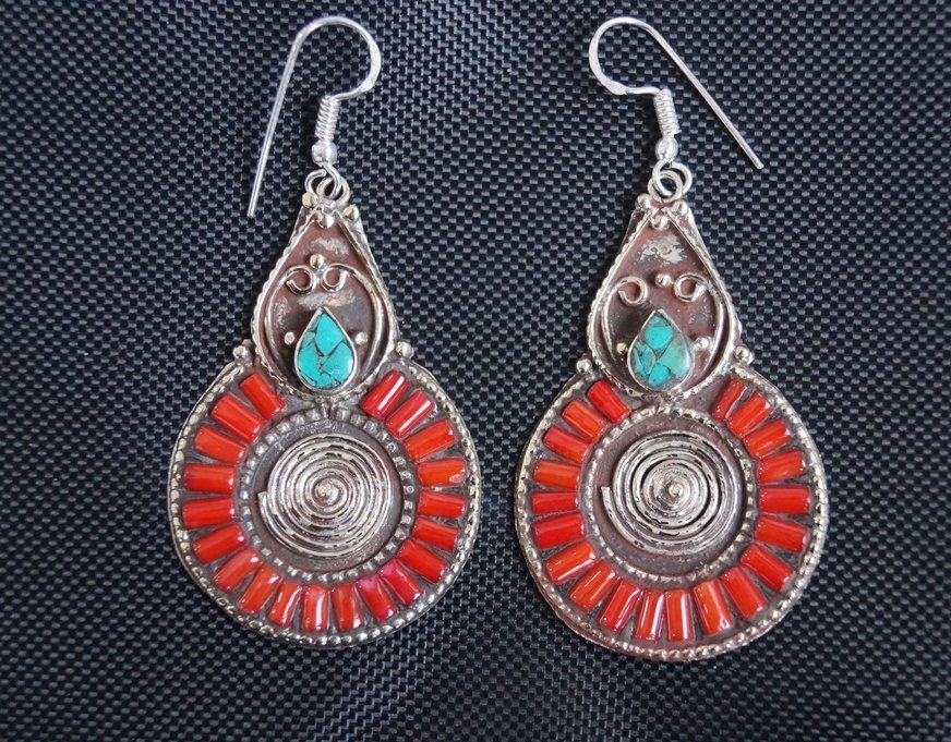 Turquoise & Coral vintage Style Tibetan   Silver Earrin