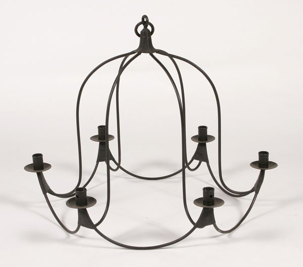 5E: Iron Bell Jar Shaped Chandelier