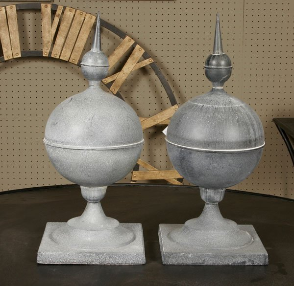 49: Zinc Decorative Finials, Pair